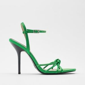 NWT ZARA KNOTTED STRAPPY HEELED SANDALS
